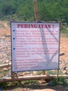 Peringatan buat Pendaki Gunung Batu
